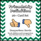 Good friends can be hard to find! Use The Definition of a Good Friend social skills card set to help teach children the qualities of a good friend. $ #Friendship #SocialSkills