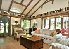 Vintage Home Interior and Exterior Like In a Fairy Tale: Attic Bookshelf In The Living Room