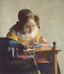 En La encajera, hacia 1669, mejoró su nueva técnica de estilización. Representó la concentración en el trabajo cuidando el rostro y las manos y prescindiendo de detalles que desvíen la atención. Dalí, que tenía admiración por este cuadro, realizó una copia y una versión surrealista del mismo.