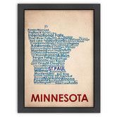 Found it at Wayfair - Typography Maps Minnesota Textual Art