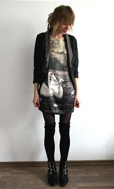 #dress #boots #jacket