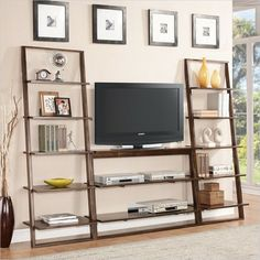Riverside Furniture Lean Living TV Stand in Burnished Brownstone - Modern - Media Storage - Cymax