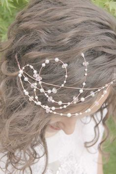 pearl crown tiara with rose gold wire