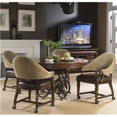 Highlands Round Game Table w/ 4 Arm Chairs by Fine Furniture Design - Knoxville Wholesale Furniture - Dining 5 Piece Set Knoxville, Tennessee