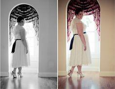 plus size bride, tea length David's Bridal dress