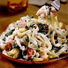 Fettuccine with Blue Cheese Sauce | MyRecipes.com