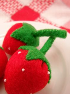 Felt Food Strawberry Fruit Eco Friendly Pretend by feltplayground, $14.50