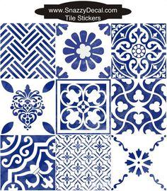 Tile Sticker for Kitche /Bathroom Back splash Floor removable Blue White 'Antique' Blue Tile Decals, Stickers, Tile Design, Adhesive Vinyl, Backsplash, Etsy, Blue And White, Flooring, Pattern