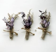 Purple and burlap natural boutonniere