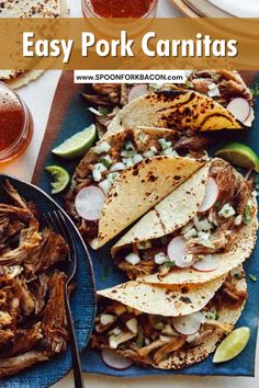 A recipe for the juiciest, most flavorful easy Easy Carnitas! You'll love this low maintenance and delicious dish with crispy bits. Use it on tacos, nachos, tortas, burritos, soups, anything! We've provided oven instructions, how to make it in a slow cooker, AND Instant Pot, so you're covered! | dinner ideas | summer dinner recipes | lunch ideas | pork recipes | crockpot recipes | mexican food recipes | slow cooker recipes | #carnitas #pork #dinner #recipe #yummy #easyrecipe Breakfast Potatoes, Breakfast Bake, Pork Dishes, Tasty Dishes, Side Dishes, How To Make Carnitas, Spoon Fork Bacon, Creamy Potato Salad, Carnitas Recipe