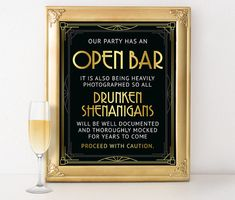 Great Gatsby party decorations - Open bar sign. Roaring 20s party decorations, birthday party decorations, bachelorette printable party sign