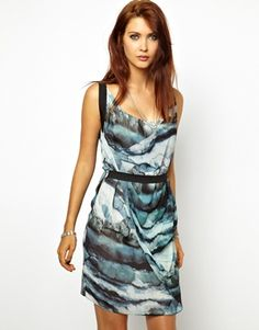 Image 1 of 2nd Day Dress in Mountain Print with Half Belt Detail