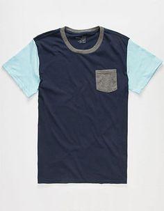 BLUE CROWN Tri Color Boys Pocket Tee Blue