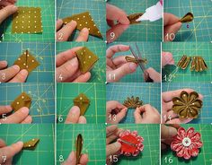 Kanzashi flower tutorial - How to make Kanzashi flowers - Arts & Crafts Posts about Tutorial Kanzashi written by rinapramana Simple, easy, and easy to layer Kanzashi Kanzashi Tutorial, Bow Tutorial, Flower Tutorial, Origami Bow, Origami Flowers, Diy Flowers, Hair Origami, Diy Ribbon, Ribbon Crafts