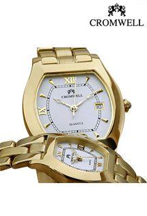 Relojes de oro 18 Kilates para señora y caballero de la firma Cromwell con maquinaria suiza y calendario. Armis de oro.