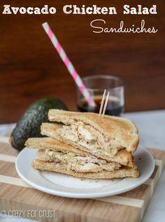 Avocado Chicken Salad Sandwiches by crazyforcrust.com   Full of avocado - and no mayo!