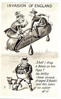 WW1 Patriotic Comic Postcard: Bulldog, John Bull & Anti Kaiser Humour