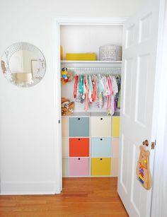 Modern Colorful Baby Girl Nursery | Cube Storage