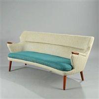 Kurt Olsen; Upholstered Teak Sofa, 1950s.