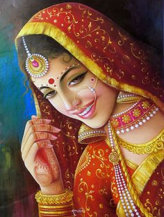 Indian paintings have a very long tradition and history in Indian art. There are more than 20 types of painting styles available in india. The earliest Indian paintings were the rock paintings of pre Indian Women Painting, Indian Art Paintings, Indian Artist, Oil Paintings, Abstract Paintings, Indian Artwork, Landscape Paintings, Rajasthani Painting, Rajasthani Art
