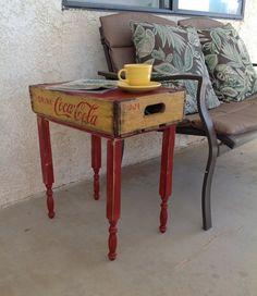 Repurposed Vintage COCA COLA CRATE End Table  by RevampTrampShop