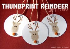 Thumbprint Reindeer. Made these with the kids. I used paint instead of an ink pad, googly eyes and a painted nose. I put some stick and peel over them so that they could use them as ornaments on the tree.   I thought they were cute and easy to do.