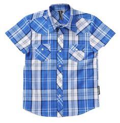 Knuckleheads Boys Rockabilly Shirt in Blue Plaid