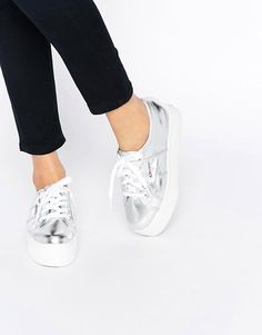 Image 1 ofSuperga 2790 Silver Double Sole Flatform Trainers