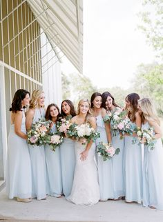 Gorgeous Minimalist + Modern Wedding Is Proof Less Is More - - Subtle and modern details make this couple's big day beyond beautiful. Pale Blue Bridesmaid Dresses, Wedding Bridesmaid Dresses, Light Blue Bridesmaids, Light Blue Weddings, Amsale Bridesmaid, Prom Dresses, Blue Dresses, Evening Dresses, Formal Dresses