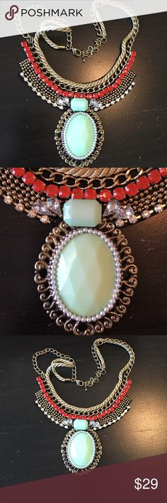 "Statement Necklace Mint Green/ coral / gold tone Statement Necklace Mint Green/ coral / gold tone. Approximately 16"" long with 3"" extension.  Very Elegant Necklace.  Never been worn. Jewelry Necklaces"