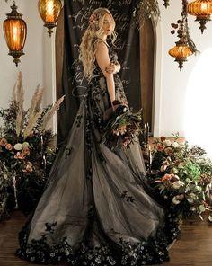 24 Black Wedding Dresses With Edgy Elegance ❤ black wedding dresses princess lace v neckline train capturedinamberphotography #weddingforward #wedding #bride