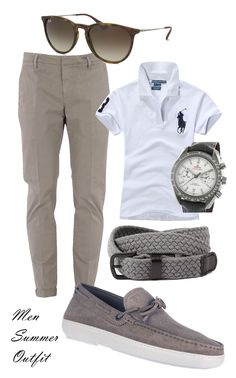 Men Summer outfit - Dondup pant - Polo Ralph Lauren shirt - Tod's Shoes - Cotton Belt - Erika Avana Rayban sunglasses - Omega Speedmaster Grey white mix