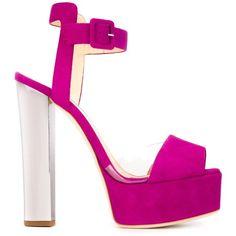 Giuseppe Zanotti Design Platform Sandals (1 135 BGN) ❤ liked on Polyvore featuring shoes, sandals, platform sandals, leather shoes, ankle strap shoes, open toe shoes ve ankle wrap sandals