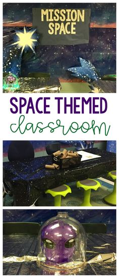 Space Come Alive Engage students with a space themed room transformation! This will make learning about the solar system come alive for third, fourth, and fifth grade science!Engage students with a space themed room transformation! This will make learning Science Room, Earth And Space Science, Science Activities For Kids, Science Classroom, Science Resources, Classroom Activities, Space Theme Classroom, Classroom Decor Themes, Classroom Design