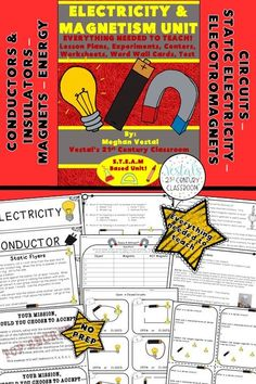 Electricity and Magnets Unit includes lesson plans, hands-on activities and experiments, worksheets, and video links. #vestals21stcenturyclassroom #electricityexperiments #electricitylessons #electricitylessonplans #4thgradescience #5thgradescience