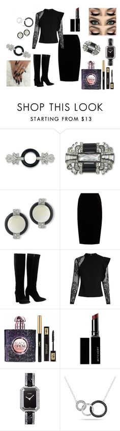 """Untitled #412"" by cheryl-epps ❤ liked on Polyvore featuring Kenneth Jay Lane, Jupe By Jackie, Chloé, self-portrait, Yves Saint Laurent, Witchery, Chanel and Miadora"