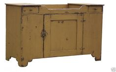 Primitive painted farmhouse dry sink antique reproduction painted country Early American style furniture via Etsy Primitive Bathrooms, Primitive Kitchen, Primitive Antiques, Country Primitive, Rustic Kitchen, Country Farmhouse, Primitive Decor, Primitive Cabinets, Kitchen Cupboard