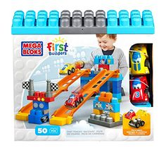 Mega Bloks First Builders Fast Tracks Raceway. Your little race car driver can build with the tracks and blocks and mix and match the race cars for endless play.