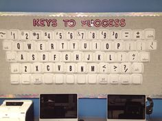 """""""Keys to Success"""" Bulletin Board for our school Computer Lab made from hamburger size """"To Go"""" containers donated from local restaurant. Vinyl stick-on letters completed the look with a few Sharpie freehand symbols. Boxes then stapled on. Makes a great 3D visual teaching tool that the kids & teachers love!"""