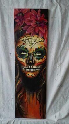 DarkSkull, Handgeschilderd op mdf, 80x23 cm. €103,-