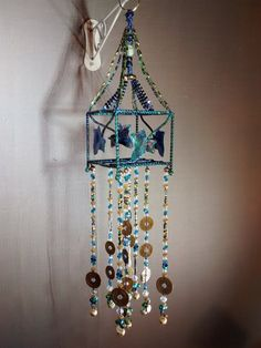 good luck green blue beaded sparkly art hanging от MagpieDoodads