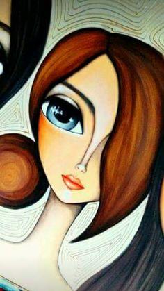 Art Pop, Cartoon Drawings, Art Drawings, Portrait Art, Portraits, Abstract Face Art, Art Abstrait, Rock Art, Painting Inspiration