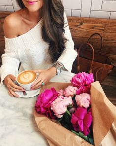 off shoulder sweater ... and peonies! Perfect combination