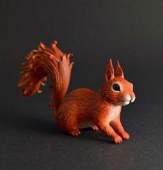 Squirrel sculpture OOAK squirrel figurine by MyOwnDragon on Etsy: