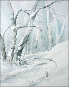 """Winterwald"" - Aquarell / Watercolor - 24 x 30 cm - Original /// Prices from Watercolor Trees, Watercolor Landscape, Landscape Art, Landscape Paintings, Painting Snow, Winter Painting, Winter Art, Tree Art, Watercolor Illustration"