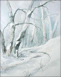 """Winterwald"" - Aquarell / Watercolor - 24 x 30 cm"