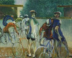 Bohumír Matal, Cyklisti, 1953, soukromá sbírka Painting, Art, Art Background, Painting Art, Kunst, Paintings, Gcse Art