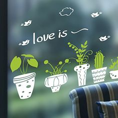 Kaimao Fresh Green Potting Eyeprotective Wall Stickers Removable Murals Home Decor For Bedrooms Living Room ** See this great product.