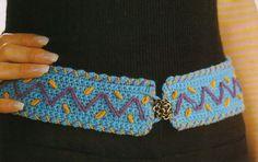 3 Cinturones Tejidos con Motivos de Puntadas - Patrones Crochet