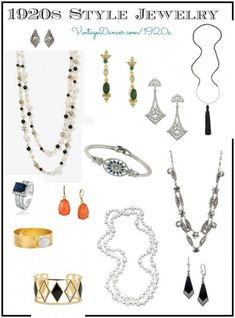 1920s Style jewelry- necklaces, bracelets, earrings, ring. VintageDancer.com/1920s